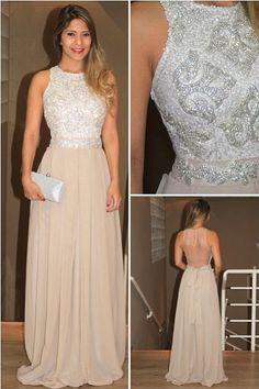 2014 Lindo Vestido Womens Evening Party Gowns High-Neck Sequins Beaded Chiffon Long Prom Dress BO3674