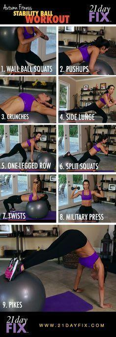 21 day fix - it says 21 Day Fix but this isn't part of it...have to try it though!: Stability Ball Exercises, Weight Loss, Work Outs, Stability Ball Workouts, Exercise Ball, 21Day, 21 Day Fix, 21 Days, Stabilityball