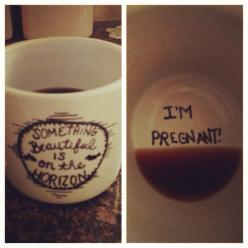 30 of the Best Ideas to Announce your Pregnancy - Double the Batch: Pregnancy Reveal, Baby Announcement, Pregnancy Announcements, Cute Ideas, Coffee Cups, Future Baby, Cute Pregnancy Announcement, Baby Reveal Idea, Pregnant Announcement
