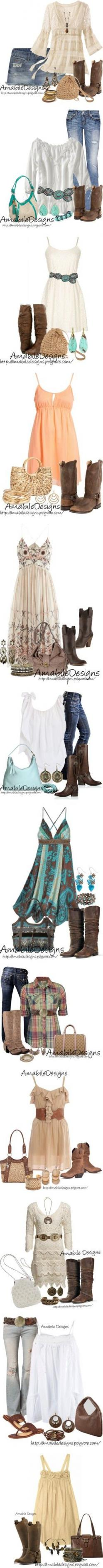 """Country Chic Look"" by amabiledesigns on Polyvore. Seriously...who am I? I'm not girly at all, but I like this.: Cowgirl Boots Outfit, Summer Country Concert Outfit, Country Outfit, Country Girl, Cowgirl Outfit, Boho Chic Outfit, Cowgirl Boots"