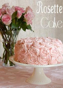 A Beautiful Rose Cake from @Decorchick: Desserts Sweeties, Food Desserts Snacks Treats, Rosette Cake Such, Pretty Rosette, Desserts Cakes Frosting, Rose Cake, Beautiful Cakes, Cake Decorchick Com, Bridal Shower Cakes
