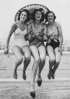 A trio of lovely gals enjoying a wonderful day at the beach, 1940's ::