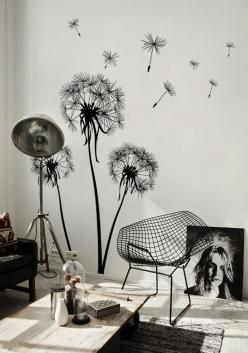 Amazing Summer Wall Murals: How to Trick Out Your Room?: Interior Design, Dandelion, Wall Murals, Wall Decals, Living Room, Room Design, Flower Wall Decal