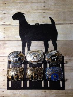 Belt Buckle Display Rack for Livestock and Rodeo Buckles: Perfect for 4-H, FFA, and Rodeo Competitors by J4MetalsAndMore on Etsy: Buckle Case, Boer Goat, Belt Buckle Display Case, Awards Displays, Belt Buckles, Stockshow Belts, Belt Buckle Holder, Belt Bu