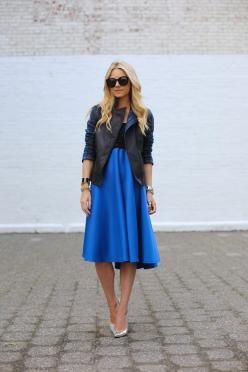 Black leather jacket with a  seriously striking blue color pop skirt!: Midi Skirts, Atlantic Pacific, Fashion, Color, Dress, Street Style, Outfit, Deep Blue