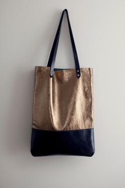 Brass Metallic with Navy Blue Leather Tote bag No. TL- 3001, via Etsy.: Leather Tote Bags, Style, Brass Metallic, Blue Leather, Leather Totes, Leather Bags, Navy Blue