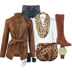 Brown Winter 2013 Outfits for Women by Stylish Eve; brown suede jacket, white turtleneck, leopard scarf, jeans, lepard flats or boots: 2013 Outfits, Stylish Eve, Fashion, Style, Stylisheve, Winter Outfits, Fall Winter, Outfits For Women