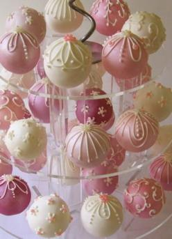 Cake pops (without the sticks?)  Love the idea!  Could be decorated for Christmas, baby/bridal showers, birthdays.  Super cute idea!  Also a great idea to have them on a cupcake-type stand for display.: Cupcake, Cake Balls, Cake Pops, Wedding Cakes, Pop C