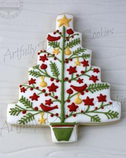 christmas baking inspiration -- tree frosting, love how intricate it is and the small details: Christmas Cookies, Decorated Cookies, Christmas Trees, Sugar Cookie