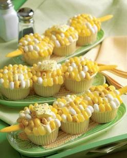 Corn-on-the-Cob Cupcake Recipe: Corn Cupcakes, Sweet, Recipe, Food, Party Idea, Corn On The Cob Cupcake, Jelly Beans, Cob Cupcakes, Dessert