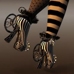 Cutea Benelli's shoes for a fine avatar at grim bros. More really cool well heeled avatars here.: Steampunk Shoes, Beetlejuice Shoes, Crazy Shoes, Alice In Wonderland, Weird Shoes, Art Shoe, Tim Burton, Night Circus, Halloween