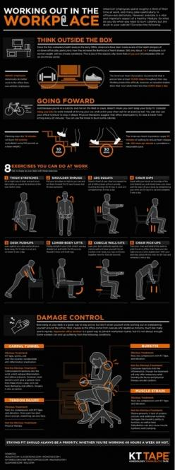 Death By Desktop:  Workout in the office.  Dont let your desktop bring you down.: Weight Loss, Fitness, Workplace Workout, Workouts, Work Outs, Exercise, Desk Job, Health, Infographic