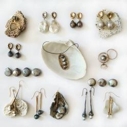 Different pieces from my jewelry collection of earrings, rings and necklaces with a variety of pearls: Jewelry Pearls, Pieces, Jewell Earrings, Jewelry Collection, Necklaces, Julie Cohn, Axes, Variety, Jewelry Earrings