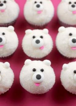 DIY Mini Polar Bear Cupcakes [Tutorial] : chocolate jimmies for the eyes + edible eyes for the nose + pink confetti sprinkles for the mouth + 8mm edible soft pearls for the ears... so easy!: Cup Cakes, Polar Bears, Sweet, Recipe, Food, Polarbears, Bear Cu