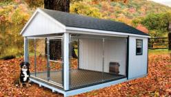 Dog house idea use the kennel for the sides and then have the insulated inner part through dog door. I don't like the idea of them spending a lot of time in the kennel but if I ever had to have them out there ( read: if I ever have a farm:) this would