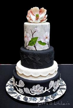 Dramatic and uniquely crafted black and white wedding cake with gorgeous brush embroidery and handpainted magnolias by Hayati abd Rahim of Yatt's Lil Kitchen in Selangor, Malaysia...love it!: Amazing Cakes, White Weddings, Beautiful Cakes, Painted Cak