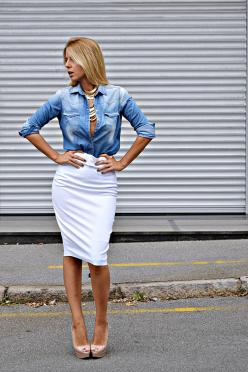 Essentially, denim shirt is no longer just a shirt, but some magic piece of clothing that works very well for you.: Black Pencil Skirt Denim Shirt, Idea, Fashion, Denim Pencil Skirt Outfit, Street Style, Fall Pencil Skirt Outfits, Denim Shirts, Styles, Pe
