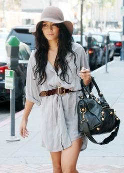 Fall fashion : mens shirt as a dress, belt, oversized bag & hat.  love how Vanessa Hudgens puts her outfits together: Hats, Vanessa Hudgens, Street Style, Outfit, Fall Fashion, Vanessahudgens