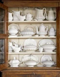 Farmhouse cupboard filled with white ironstone. Vintage perfection!: Ironstone Display, Dining Room, Idea, Style, Farmhouse, White Dishes, Kitchen, White Ironstone