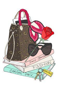 fashion illustration - whats in a bag