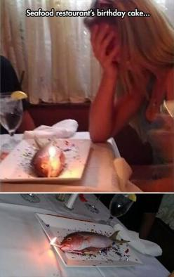 Funny pics: Fish Cake, Happy Birthday, Funny Pics, Afternoon Funny, Funny Pictures, Seafood Restaurant S, Funny Birthday, Birthday Cakes