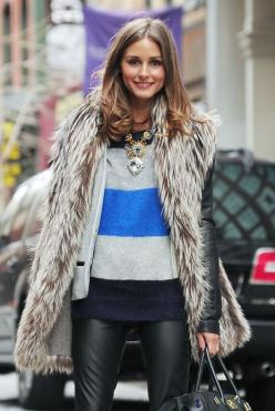 fur: Oliviapalermo, Fashion, Statement Necklace, Style Inspiration, Street Style, Fur Vests, Winter Outfit, Olivia Palermo, Fall Winter