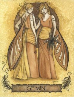 "Gemini by Jessica Galbreth < I like this one. It's as if the right twin is like, ""No problems. I got this."" : Twin, Zodiac Signs, Fairies, Art, Astrology, Gemini Zodiac, Tattoo, Jessica Galbreth"