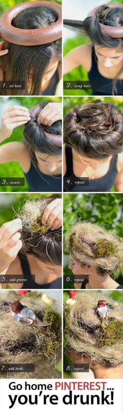Go home Pinterest!: Halloween Costume, Nest Hair, Crazy Hair Day, Bird Nests, You Re Drunk, Mother Nature