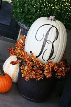 Google Image Result for http://blog.divaentertains.com/wp-content/uploads/2011/10/monogram-pumpkin.jpg: Fall Decoration, Holiday, Painted Pumpkin, Fall Decorating, White Pumpkin, Monogram Pumpkin, Front Porches