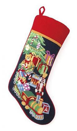 "Holiday Toy Trains Christmas Needlepoint Stocking - 11"" x 18"": Stockings W Toys, Trains Christmas, Stockings Christmas, Needlepoint Stockings, Toy Trains, Toys Needlepoint, Christmas Stockings, Christmas Toys"