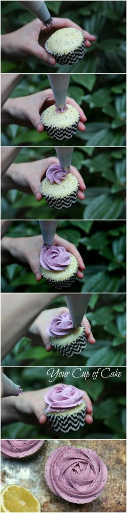 How to make a rose cupcake (use Wilton1M tip but blogger has another brand called Bakers Craft and it's a 2D. It has 5 or 6 triangles, ) Best way to pipe on a cupcake!!!: Cup Cakes, Sweet, Bakers Craft, Tutorial, Rose Cupcake, Cupcakes Decorating, Cake De