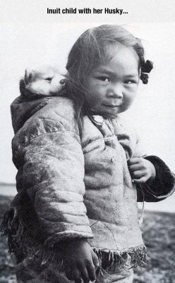 I Can't Imagine Anything Cuter Than This: Girls, Inuitgirl, Dog, Photo, People, Huskies Puppies, Native American