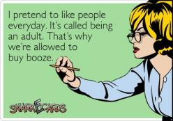 I pretend to like people everyday. It's called being an adult. That's why we're allowed to buy booze. / Snarkecards: Giggle, Buy Booze, Quotes, Funny Stuff, Funnies, Ecards, Being An Adult, E Cards