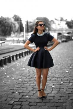 I want to buy this dress and I want to go stand in the street just like that and wait for someone to take my picture because I'm JUST. THAT. CUTE.: Outfits, Fashion, Statement Necklace, Style, Clothing, Clothes, Dream Closet, Little Black Dresses, Wea