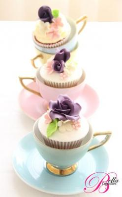 I will have to hire you if I have a girl! This would be so cute for a tea party themed birthday! I bet you could find the tea cups cheap at thrift stores! :) @Melissa Devosha-Ortego: Tea Party, Cup Cakes, Tea Time, Idea, Sweet, Cupcakes, Tea Parties, Tea