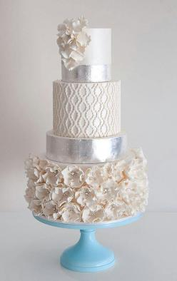 Indian Weddings Inspirations. Silver wedding cake. Repinned by #indianweddingsmag indianweddingsmag.com: White Wedding, Wedding Ideas, Weddings, Winter Wedding, Cake Ideas, Wedding Cakes, Silver Wedding, Beautiful Cakes