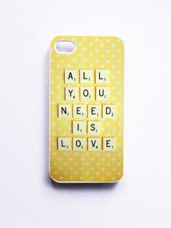 iPhone Case. Vintage Scrabble. All You Need is Love. White Phone Case. iPhone 4 and 4S Accessory. Yellow White Polka Dots. Mothers Day.: Iphone Cases, Iphones, Iphone 4S Cases, Phonecases, Iphone Case Covers, Food Phone Case, White Phone Case, Vintage Pho