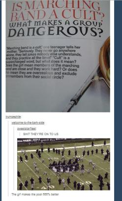 Is marching band a cult? lol, funny, marching band humor: Cult, Band Geek, Band Nerd, Band 3, Funny Marching Band, Marching Band Funny, Marching Band Humor, Marching Bands
