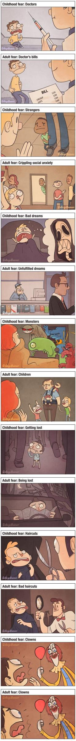 It's so true!!: Childhood Fears, Funny Random, Funny Stuff, Dang Clowns, So True Teenager Posts Funny, Creepy But True, Adult Humour Quotes, Child Fears Vs Adult Fears, It S True