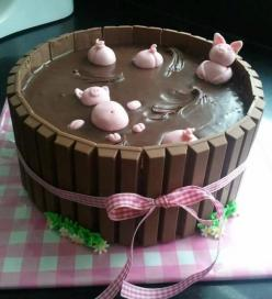 Kit Kat Cake - Pigs in Mud version. Cute little piggies! Saw this on Facebook. I would love to give credit where it's due but can't find the original source.: Ideas, Chocolate, Cakes, Food, Pigs, Birthday Cake, Dessert