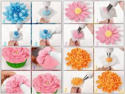 Learn how to make four pretty, yet easy cupcake decorating techniques with the easy to follow pictures.: Icing Technique, Decorating Ideas, Buttercream, Flower Tutorial, Cupcake Decoration, Flowers, Dessert
