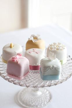Little petite fours resembling wedding cakes as treats at each table for the reception or favors - Love this idea!: Tea Party, Petit Fours, Idea, Cupcake, Sweet, Wedding Cakes, Mini Cakes