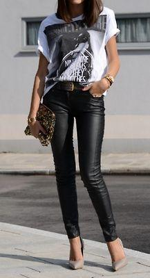 Love this outfit. Graphic Tee and Leather Pants.