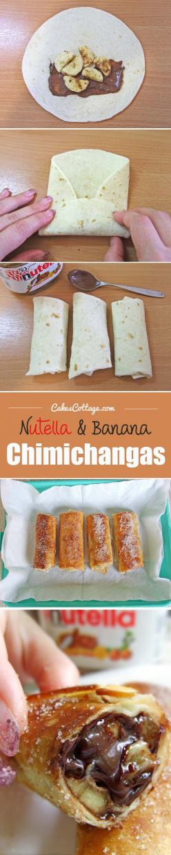Nutella and Banana Chimichangas | www.cakescottage.com | #recipes #nutella #chimichangas: Campfire Food, Banana Chimichanga, Amazing Food, Camping Recipe, Dessert Chimichanga, Nutella Recipe, Campfire Dessert, Delicious Food