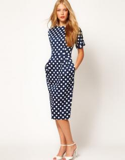 Pencil Dress In Wiggle Shape In Spot Print: Wiggle Shape, Polka Dots, Asos Pencil, Polka Dot Dresses, Polkadots, Pencil Dresses