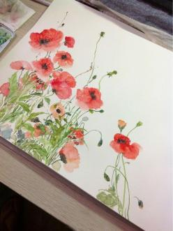 Poppies I love watercolor - its such an elegant medium. <3: Watercolor Painting, Red Poppies Watercolor, Art Watercolor, Watercolors, Water Color, Watercolor Flower, Watercolour, Acuarelas Flores