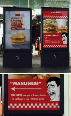 Quality Trolling From Five Guys: Funny Hilarious, Random Mk 2, Guys Burgers, Funny Humor Hilarious, Advertising, Funny Love Humor, Five Guys, Funny Interesting Things, Awesome Stuff