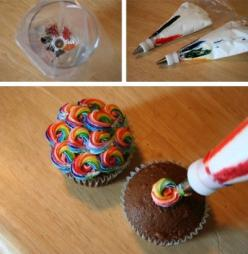 Rainbow Frosting.  Now this I have to try.: Rainbow Frosting, Idea, Sweet, Cupcakes, Food, Rainbows, Cup Cake
