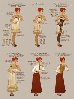 Rosalind Lutece - The BioShock Wiki - BioShock, BioShock 2 ...I just find this an interesting costume study: Edwardian Era, 1890S Dress, Costume, Character Design, Claire Hummel, Bioshock Wiki, Rosalind Lutece, Dressing Rosalind