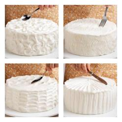 """...simple ways to decorate a cake - peaks, zigzags, waves, and stripes...   my mom used the """"spoon"""" method every time!: Idea, Sweet, Cakes, Food, Cake Decorating, Dessert"""